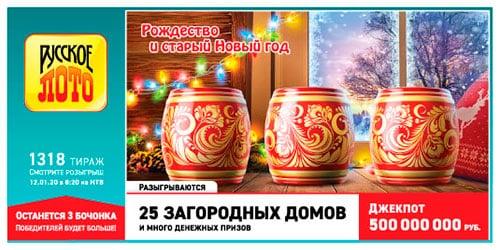 Русское лото от 12 января 2020: тираж 1318, проверить билет, тиражная таблица от 12.01.2020