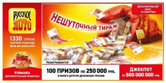 Русское лото от 5 апреля 2020: тираж 1330, проверить билет, тиражная таблица от 5.04.2020