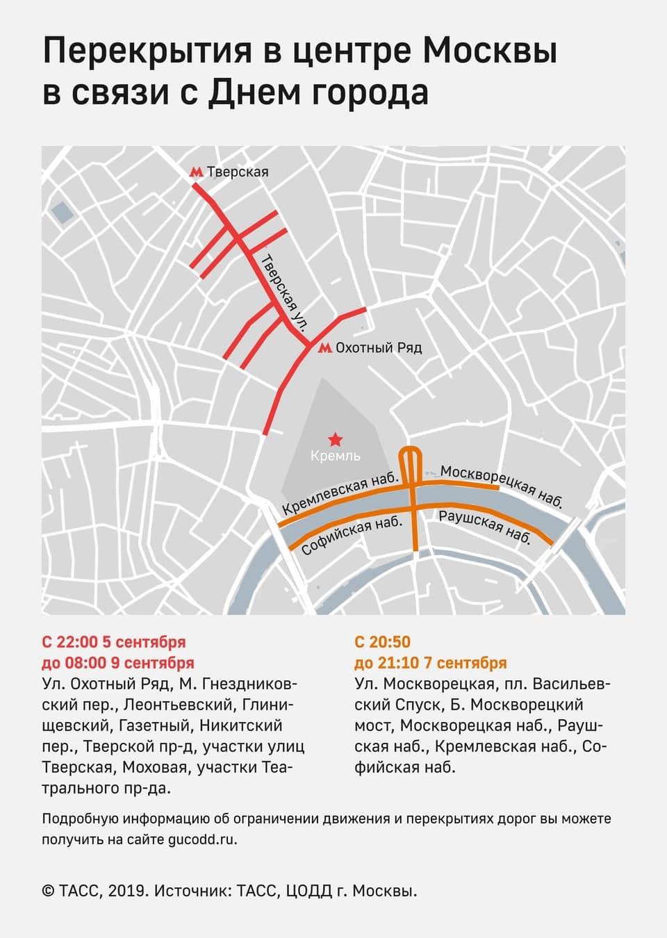 Где и когда в Москве перекроют дороги из-за Дня города
