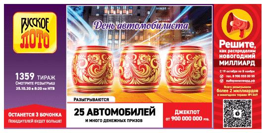 Русское лото от 25 октября 2020: тираж 1359, проверить билет, тиражная таблица от 25.10.2020