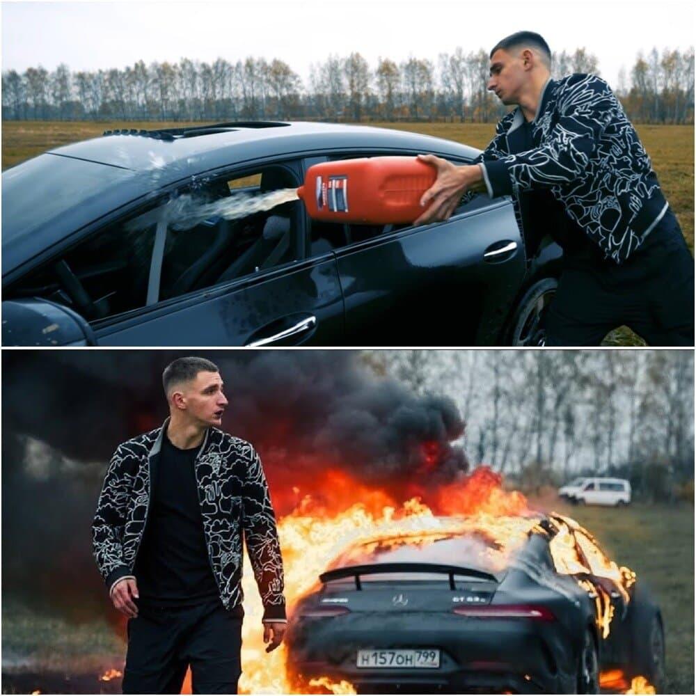 Блогер Максим Литвин сжег дорогой автомобиль, удивив подписчиков