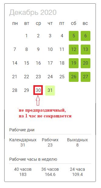 30 декабря 2020 года обычный не сокращенный рабочий день в России