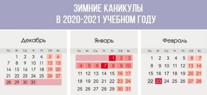 Названы даты школьных зимних каникул в 2020-2021 году