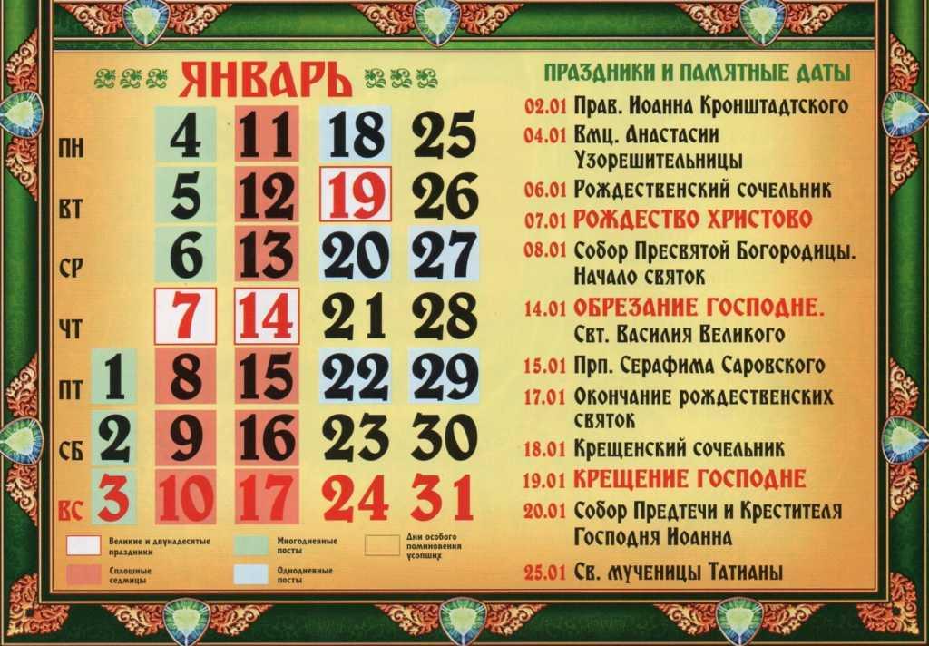 Список церковных праздников в январе 2021 года